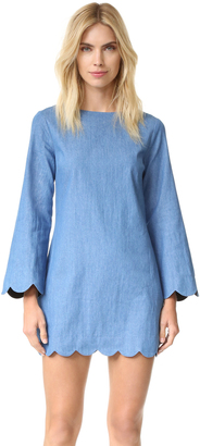 ENGLISH FACTORY Scallop Denim Dress $94 thestylecure.com