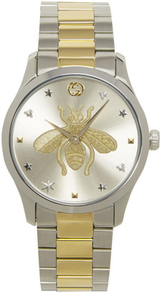 Gucci Silver and Gold G-Timeless Bee Watch