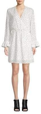 Dex Long-Sleeve Ruched Surplice Dress
