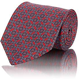 Brioni Men's Diamond-Motif Silk Twill Necktie - Red