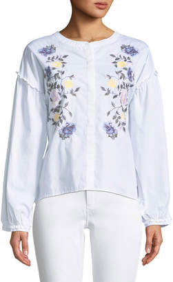 Sanctuary Spring Danni Embroidered Button-Front Blouse