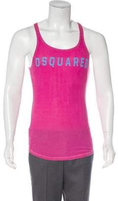 DSQUARED2 Logo Linen-Blend Tank Top