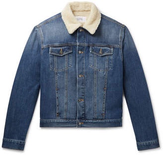 Givenchy Slim-Fit Shearling-Trimmed Denim Jacket - Men - Blue