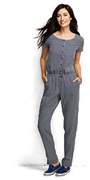 Lands' End Women's Starfish Jumpsuit-White Small Multi Dot $129 thestylecure.com