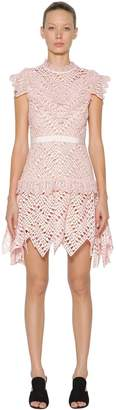 Self-Portrait Abstract Triangle Lace Mini Dress