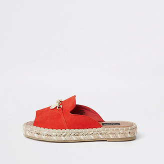 River Island Red espadrille peep toe wide fit sandals