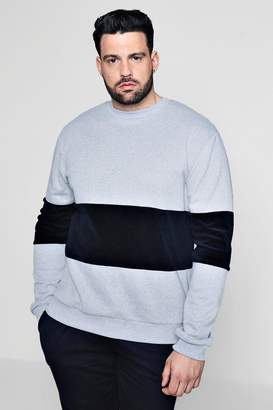 boohoo Big And Tall Velour Colour Block Sweater