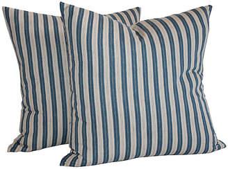 One Kings Lane Vintage Pair of Striped Ticking Pillows