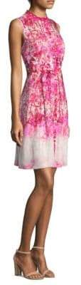 Elie Tahari Floral Mockneck Dress