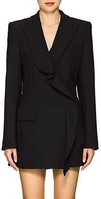 Area Women's Flora Ruffled Stretch-Twill Double-Breasted Blazer - Black