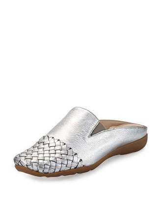 Sesto Meucci Gabor Woven Mule Sneaker, Silver $250 thestylecure.com