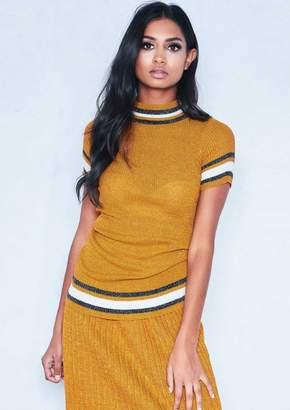 b794d12d4d143e Missy Empire Missyempire Audrey Mustard Sparkle Knit Stripe High Neck T- Shirt
