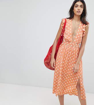 Glamorous Tall Sleeveless Midi Dress With Flutter Sleeves In Polka Dot