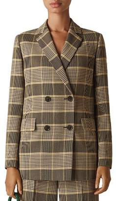 Whistles Check Double-Breasted Blazer