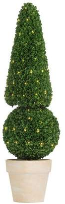 A&B Home Pre-Light Faux Boxwood Cone/Ball Topiary Decor