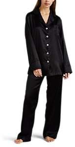 SLEEPER Women's Silk Satin Pajama Set - Black