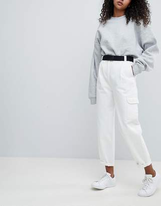 Asos Design Tapered Jeans with Curved Seams and Belt in Off White with Utility Side Pocket