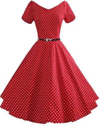 iSherman 50s 60s Vintage Short Sleeves Swing Rockabilly Full Circle Party Dress