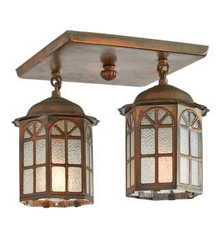 Rejuvenation Traditional Copper Entry Fixture w/ Two Lanterns