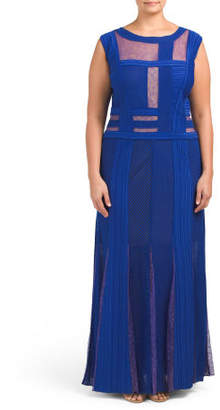 Plus Color Block Mesh Gown