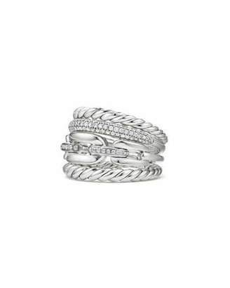 David Yurman Wellesley Sterling Silver Four-Row Ring with Diamonds