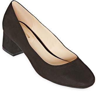 Liz Claiborne Womens Kalpeni Slip-on Square Toe Block Heel Pumps