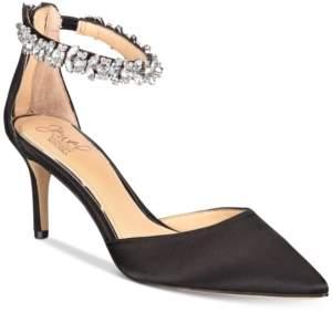 36a503b7d5e Badgley Mischka Audrey Embellished Ankle Strap Evening Pumps