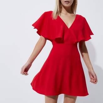 River Island Womens Petite red cape sleeve tea dress