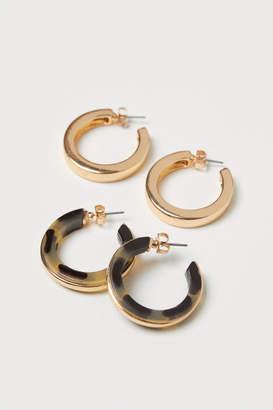 H&M 2 Pairs Hoop Earrings - Beige