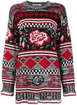 MSGM rose pattern oversized sweater