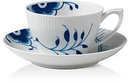 Blue Fluted Mega Tea Cup & Saucer