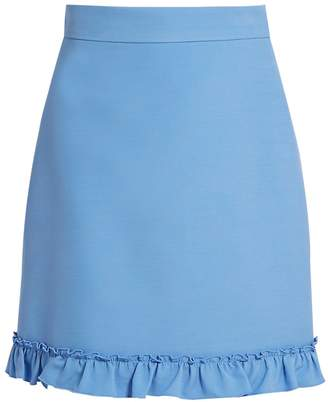 Gucci Ruffled-hem silk and wool-blend skirt