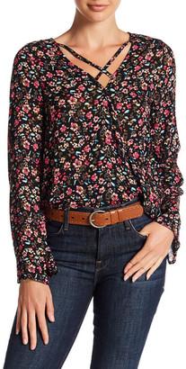 En Creme Printed Surplice Blouse $40 thestylecure.com