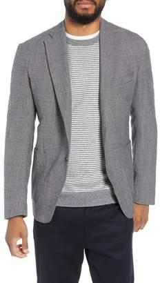 Eleventy Trim Fit Stretch Check Wool Sport Coat