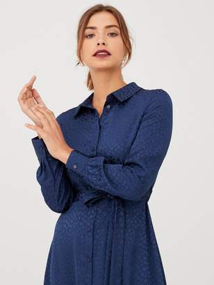 Very Jacquard Hanky Hem Shirt Dress - Navy