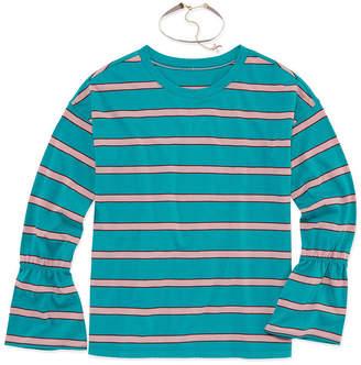 Arizona Bell Sleeve Striped Top with Choker - Girls' 4-16 & Plus