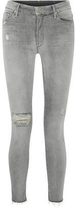 Mother Looker Distressed High-rise Skinny Jeans - Gray
