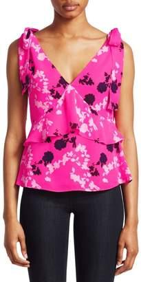 beab4d0fb03c85 Tanya Taylor Sierra Printed Silk Shoulder Tie Blouse