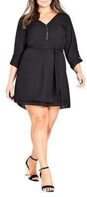 City Chic Plus Half-Zip Tunic