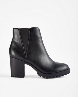 Express Low Block Heel Stretch Lug Booties $59.90 thestylecure.com