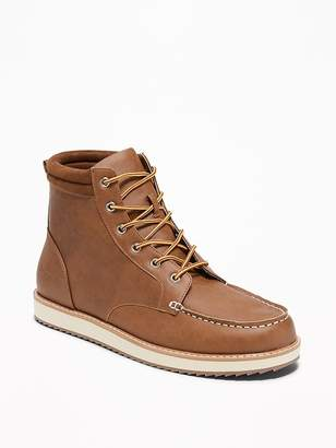 Old Navy Faux-Leather Moc Boots for Men