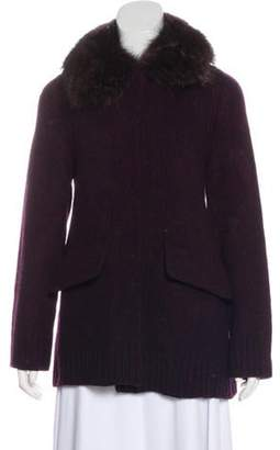 Prada Fur-Trimmed Wool Cardigan navy Fur-Trimmed Wool Cardigan