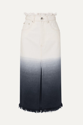 House of Holland Frayed Ombré Denim Midi Skirt - White