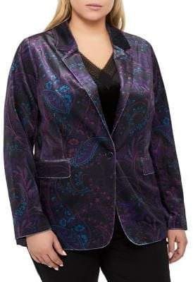 Addition Elle Michel Studio Plus Printed Velvet Blazer