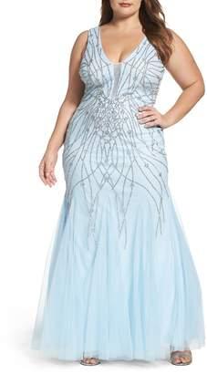 XSCAPE Beaded Mesh Trumpet Gown (Plus Size) $368 thestylecure.com