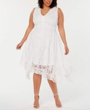 Taylor Plus Size Lace Handkerchief-Hem Dress