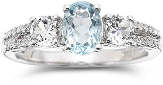 JCPenney FINE JEWELRY Simulated Aquamarine & Lab-Created White Sapphire Sterling Silver 3-Stone Ring