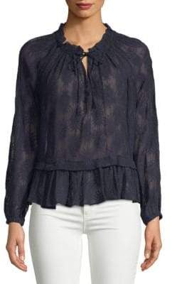 Rebecca Taylor Selina Embroidered Long-Sleeve Silk Blouse