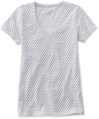 L.L. Bean L.L.Bean West End Fitted Tee, Short-Sleeve V-Neck Polka Dot