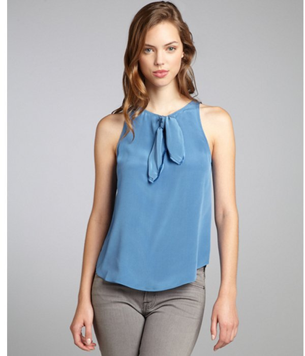 Marc by Marc Jacobs lapis blue silk charmeuse 'Lilith' sleeveless blouse